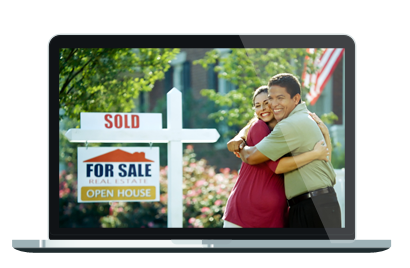 Screenshot of happy couple in front of sold house